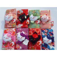 厂家直销日本招喜屋和风招财猫礼物/可爱卡通对折搭扣钥匙包/卡包