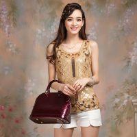 厂家直销新款欧美高档手工串珠土豪金小背心女装莫代尔吊带打底衫