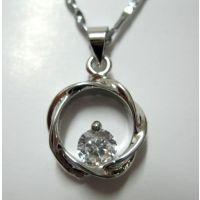 水晶情侣项链  经典天籁麻花项坠子 真白金吊坠含链一条H000369
