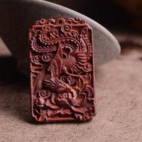 印度小叶紫檀木雕挂件附身符 木雕观音挂件吊坠 男女红木质龙凤牌