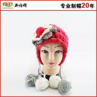 【工厂定制】四毛球双辫子针织帽加厚帽子女士时尚潮人毛线帽批发