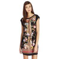 B1爆款 2014夏季欧美新品时尚定位玫瑰印花系带连衣裙 女式创意款