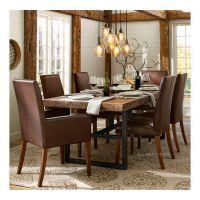 loft美式铁艺餐桌椅组合实木餐桌长方形餐桌客厅阳台休闲桌椅