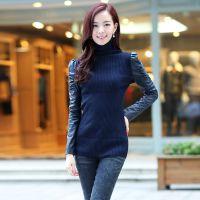 正品2014秋冬新款韩版打底衫纯色拼接修身套头毛长袖针织衫