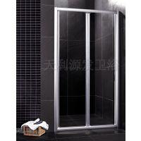 定制一字形隔断淋浴房 浴室屏风钢化玻璃移门 铝合金折叠门