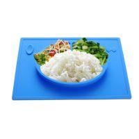 一体式儿童硅胶餐盘垫 防滑抗菌宝宝分格餐盘 耐摔硅胶餐具