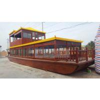 厂家专业定制河北北京昌平大型双层观光画舫,餐饮旅游木船木船吃饭客船