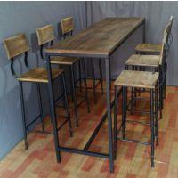 定制美式乡村餐厅餐桌 铁艺实木边桌 酒吧吧台桌咖啡厅桌椅
