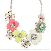 厂家直销 2014新款水晶玫瑰花项链 韩国女款项链 时尚钻石项链