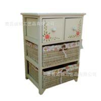 木制品厂家直供白色三层实木柳编碎花抽屉收纳柜 定做木制储物柜