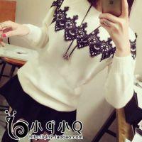 新品秋冬韩版女装罩衫蕾丝拼接女式针织衫打底衫圆领毛衣女批发