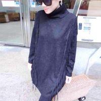 厂家直销 韩版流苏中长款打底衫 女装打底衫 织棉女装批发