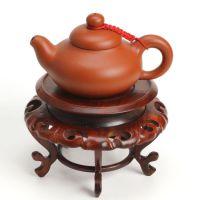 木石有约 圆茶几三件套 红木工艺品 酸枝茶几 玉石底座 机架