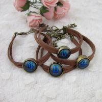 批发供应 复古时光宝石 手链 可定制 绒绳手工编织 十二星座 蓝色