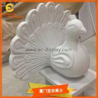 橱窗美陈道具定制泡沫孔雀雕塑 商场DP橱窗道具