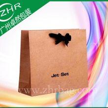蝴蝶结手提牛皮纸袋环保加厚纸袋可彩印服装礼品袋