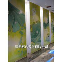 供应济南宏观专业墙绘手绘墙案例—荷花