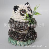 海南特色工艺品 海螺 贝壳工艺品 熊猫 贝壳熊猫 动物 特价批发