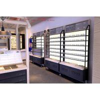 邵通眼镜店装修|斜面柜效果图|高光烤漆木制收银台
