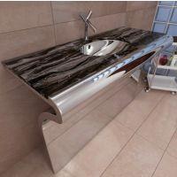 米乐不锈钢酒店现代卫浴洗手盆 不锈钢一体式洗手盆