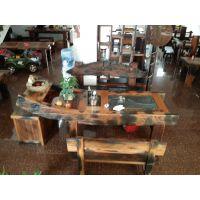 老船木茶桌椅组合沉船木茶台简约实木茶几中式功夫茶桌子现代家具