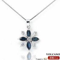 易燃火山韩版饰品 925银镀白金天然蓝宝石吊坠 赠项链SP0176S