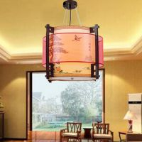 中式吊灯餐厅茶楼客厅吊灯圆实木艺雕花仿古led羊皮灯饰灯具8031