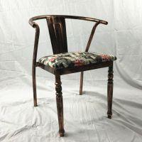 批发酒店金属软包椅子特色快餐店椅子复古工业风餐椅做旧铁艺椅子