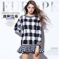 埃比 深圳高端女装秋冬连衣裙 长袖荷叶边羊毛针织格子毛衣裙8692