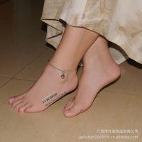 脚链批发 镀白金饰品不褪色 铃铛脚链 有响声 女生脚饰 礼物