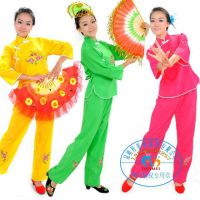 半扣绣花玫红秧歌服装女/民族服装汉族舞蹈服装腰鼓扇子舞服装