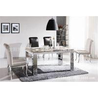不锈钢大理石餐桌椅组合长方形 五金加工定做高档 来图制作
