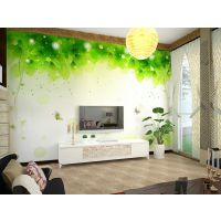 现代3d简约壁画 深圳直销 电视沙发床头背景墙纸 清新绿叶包邮