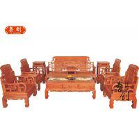 红木客厅 六合同春 沙发实木缅甸非洲黄花梨明清仿古组合古典家具