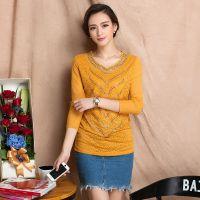 一件代发秋季新款甜美时尚修身V领长袖拼贴蕾丝衫 纯色打底衫女装