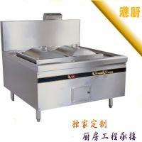 深圳批发 酒店餐饮厨房设备  不锈钢双头肠粉炉  节能燃气双灶