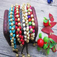 铜铃编结蜡绳手链  创意泰国异域民族风 纯手工三菱形手链