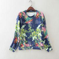 2015女装新款 甜美印花太空棉长袖T恤打底衫D614 0.3