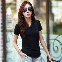 韩国官网同款2015夏季新款日韩女装修身显瘦V领短袖纯棉上衣t恤女