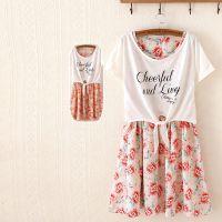 外贸日系森女短袖连衣裙夏  精品印花修身收腰雪纺连衣裙两件套