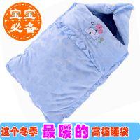 冬款 天鹅绒加厚婴儿睡袋新生儿抱被宝宝包被睡袋两用 打开做盖被