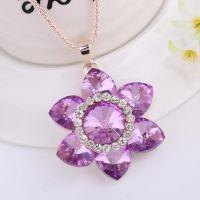 新款纯色水晶太阳花钻石吊坠项链 义乌欧美外贸原单饰品批发