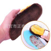 供应 羊毛擦鞋手套 皮鞋皮衣专用清洁用品 上油抛光羊毛鞋擦