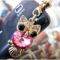 韩国镀金镶钻大水晶卡通猫头鹰手机挂件耳机孔防尘塞 ALQP2014024