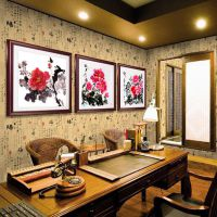中式有框画三联富贵吉祥如意牡丹书房国画客厅装饰墙挂壁画直销