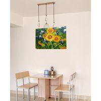 手绘装饰油画 向日葵花卉油画 儿童房卧室客厅油画玄关画挂画批发