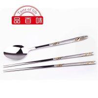 不锈钢 餐具 304 便携 勺子 筷子 套装  镀金 仙鹤西餐用具  批发