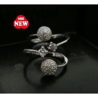 925纯银戒指低价批发 来自星星的你千颂伊同款银戒珍珠开口戒