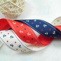 2.5cm罗纹印花织带 布艺儿童头饰材料 diy发饰配件