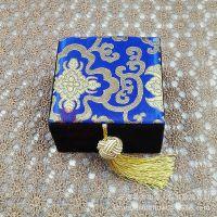 10*10宝蓝色锦布手串盒 水晶手链盒 玉器手镯盒 玛瑙首饰盒子批发